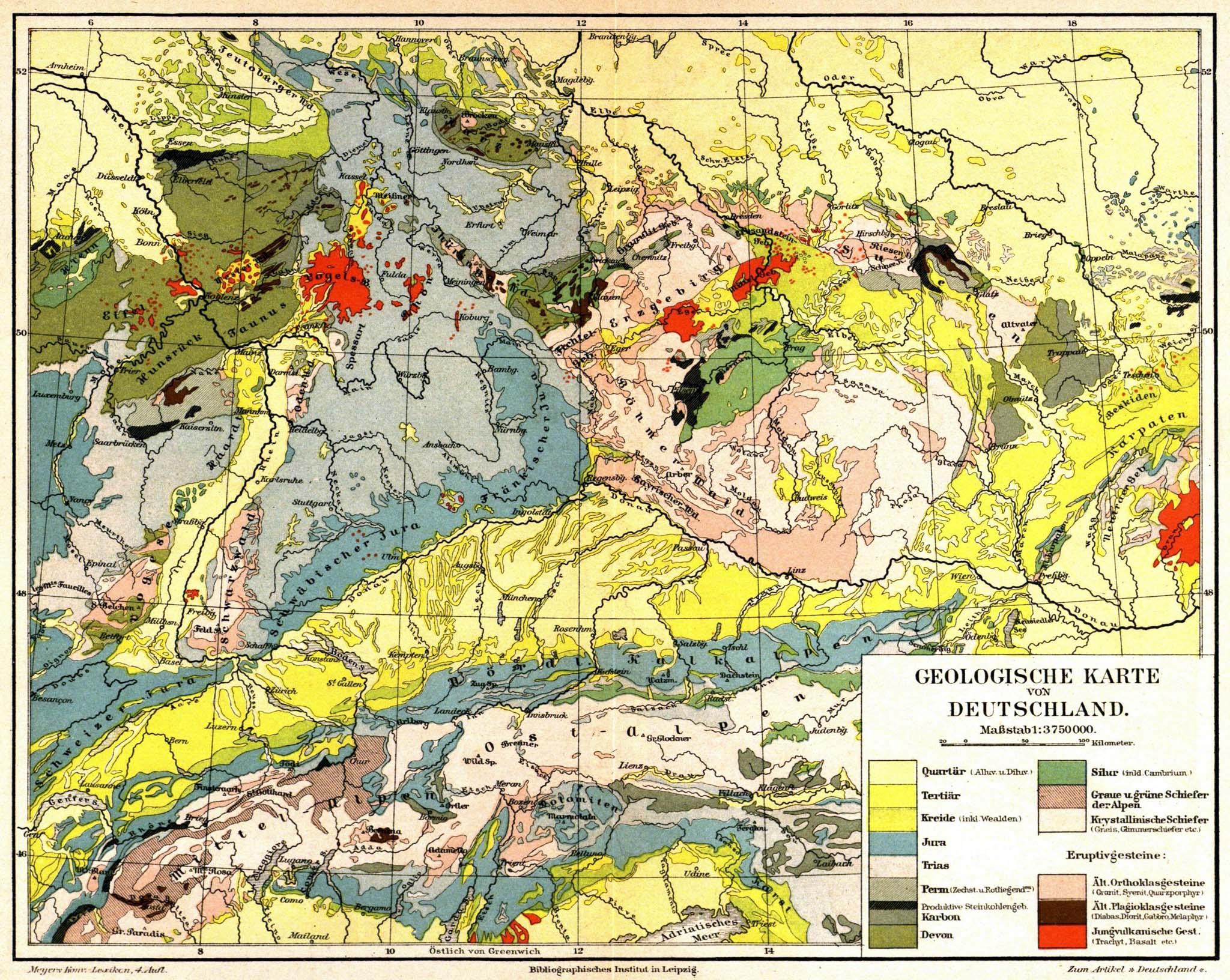 geologische karte deutschland retro|bib   Seite aus Meyers Konversationslexikon: Geologische  geologische karte deutschland