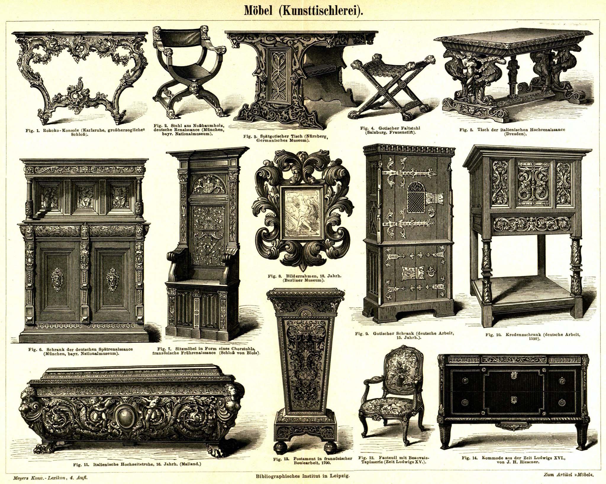 retro bib seite aus meyers konversationslexikon m bel kunsttischlerei. Black Bedroom Furniture Sets. Home Design Ideas