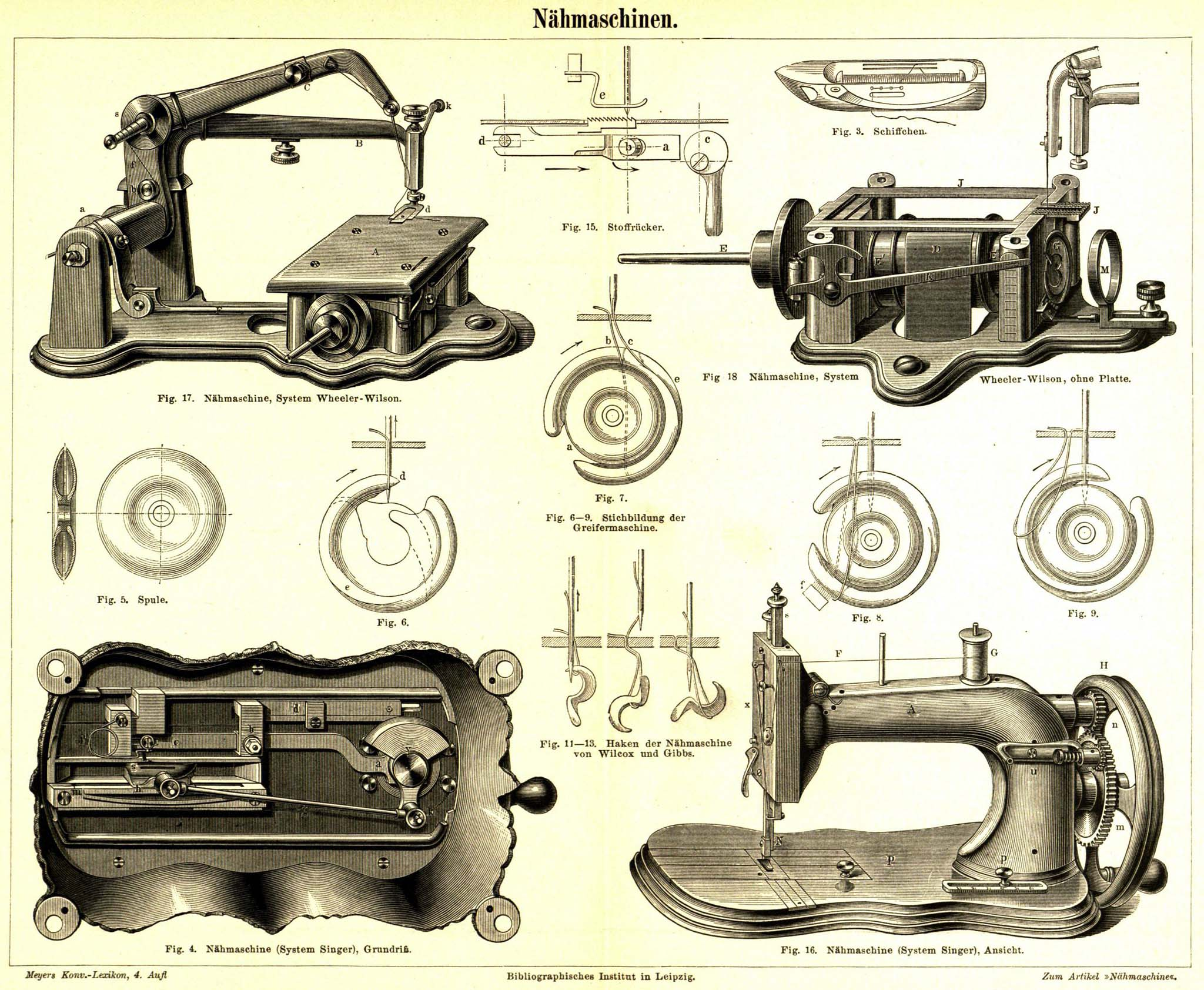 retrobib  Seite aus Meyers Konversationslexikon  ~ Nähmaschine Wien