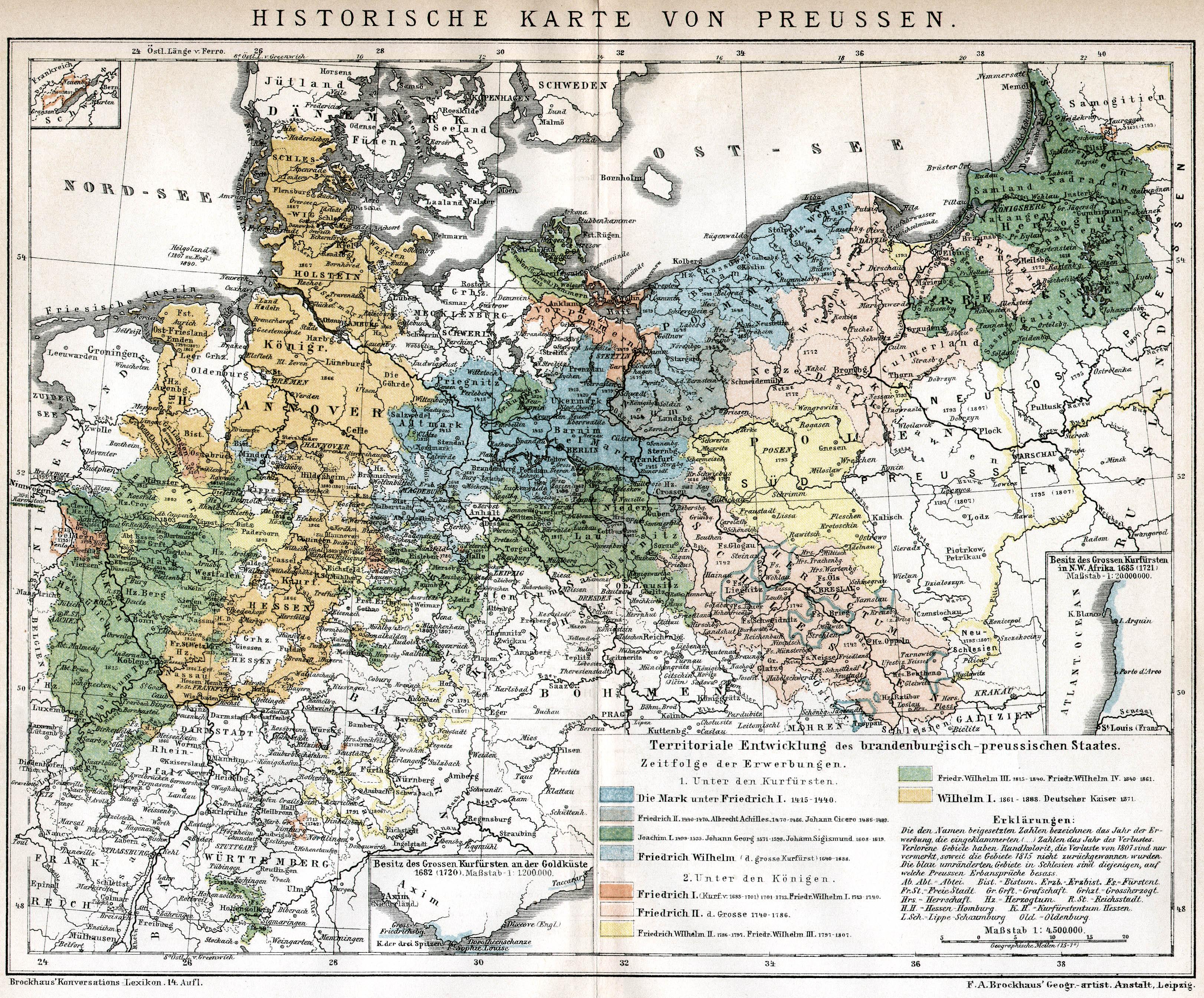preußen karte retro bib   Seite aus Brockhaus Konversationslexikon: Historische